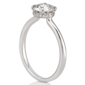 hidden halo engagement ring with claw prongs