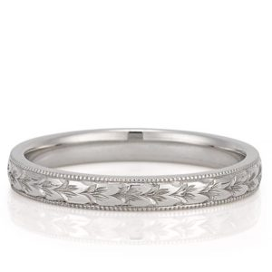 wedding band with hand engraved motif
