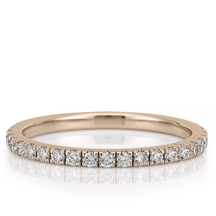 rose gold wedding band with micro pave diamonds