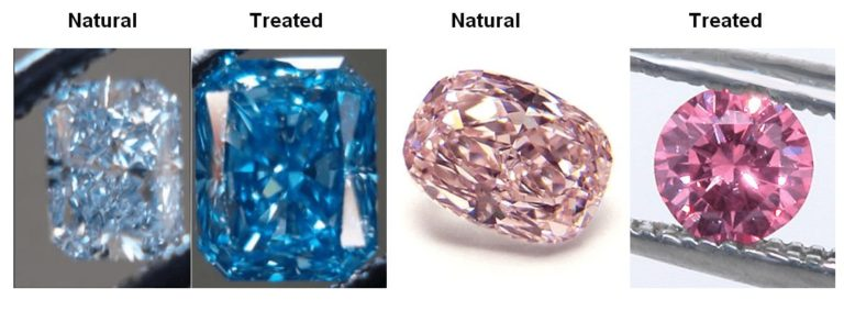 blue natural vs treated diamond and pink natural vs treated diamond