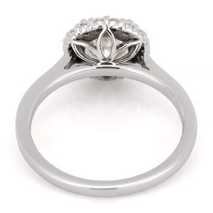 white gold engagement ring with leaf basket detail
