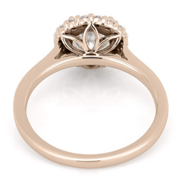 rose gold engagement ring with leaf basket detail