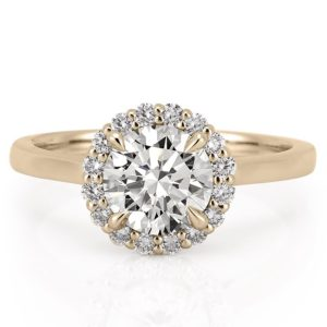 yellow gold leaf halo engagement ring with claw prongs