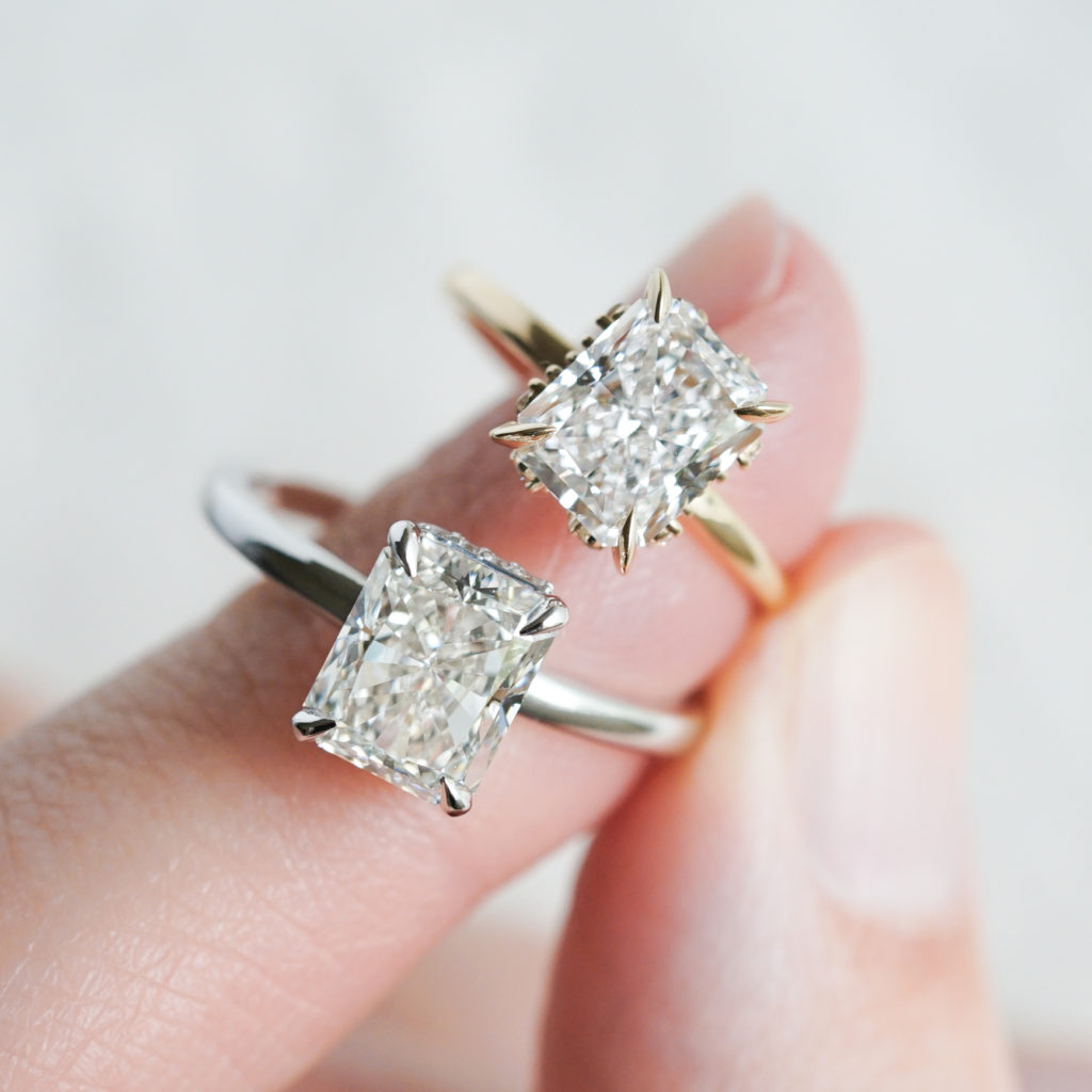 Radiant cut diamond rings in white and yellow gold