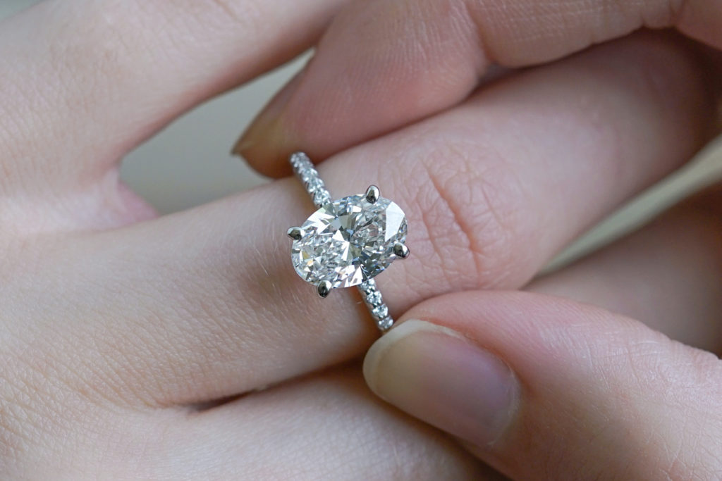 oval cut diamond engagement ring with great cut