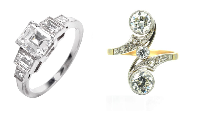 Example of Art Deco Engagement ring on left and Art Nouveau engagement ring on right