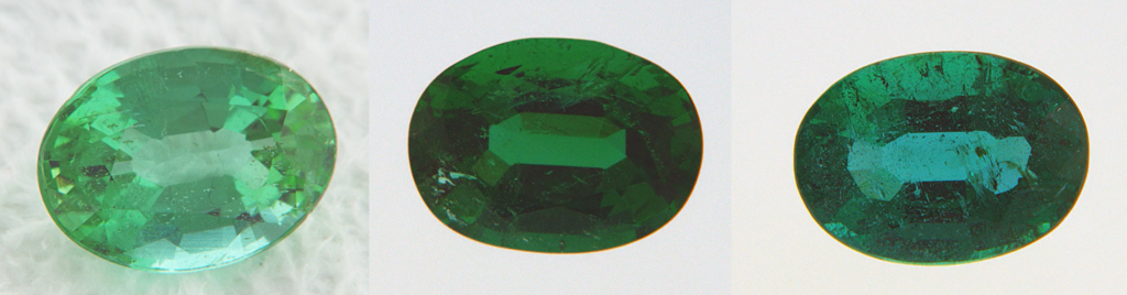 Side by side comparison of emerald color variations