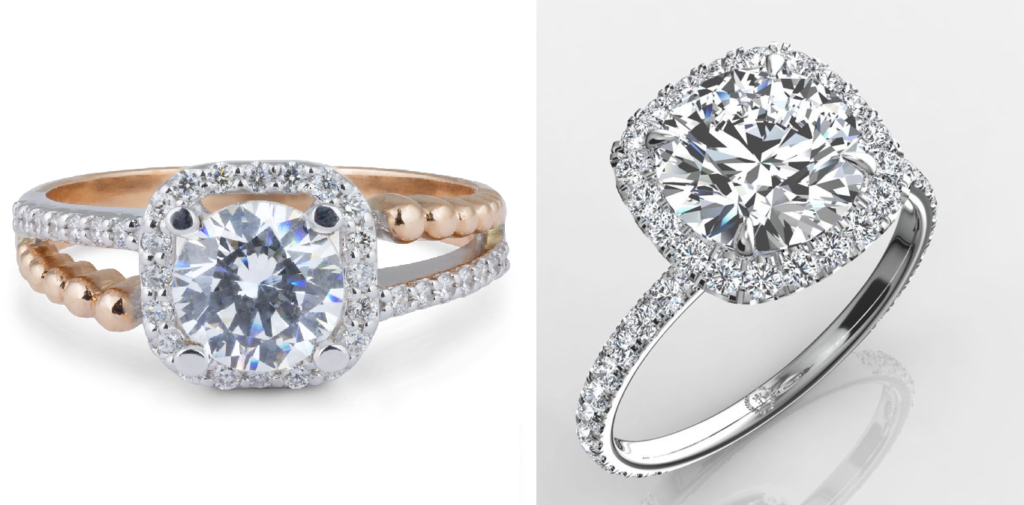 Example of gap in Cushion cut engagement ring