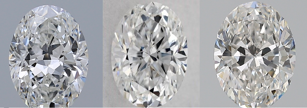 side by side comparison of 4, 6, and 8 pavilion mains in oval cut diamonds
