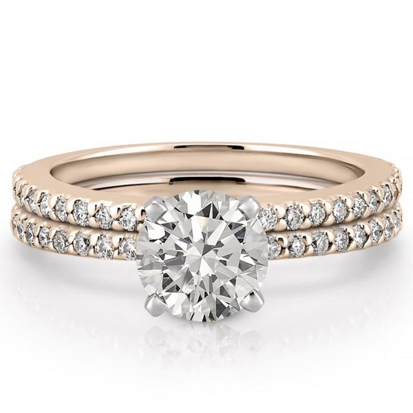 affordable rose gold dainty engagement ring set with round lab created diamond