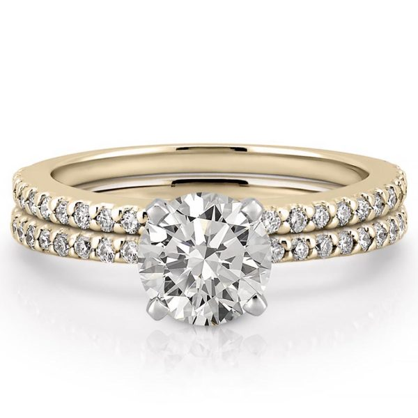 affordable yellow gold dainty engagement ring set with round lab created diamond