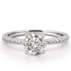affordable white gold dainty engagement ring with round lab created diamond
