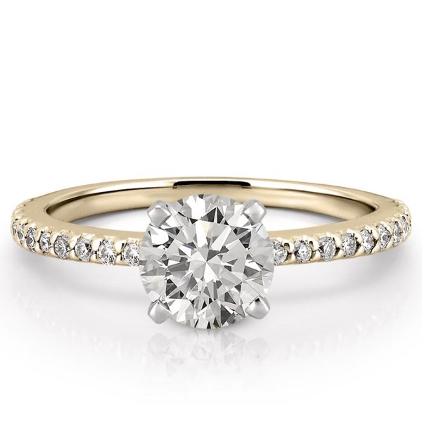 affordable yellow gold dainty engagement ring with round lab created diamond