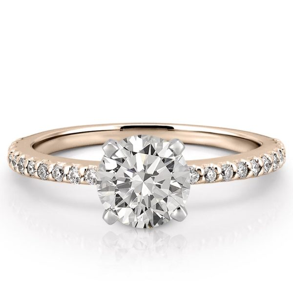 affordable rose gold dainty engagement ring with round hearts and arrows moissanite