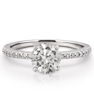 affordable white gold dainty engagement ring with round hearts and arrows moissanite