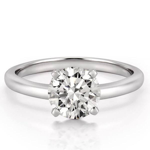 affordable white gold classic solitaire with round lab created diamond
