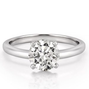 affordable white gold classic solitaire with round hearts and arrows moissanite