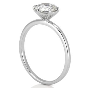 white gold affordable delicate solitaire ring with round lab diamond