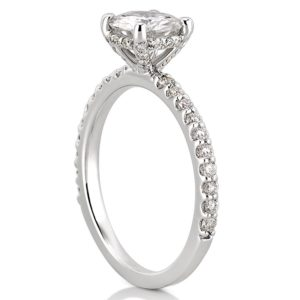 white gold diamond basket engagement ring with round moissanite