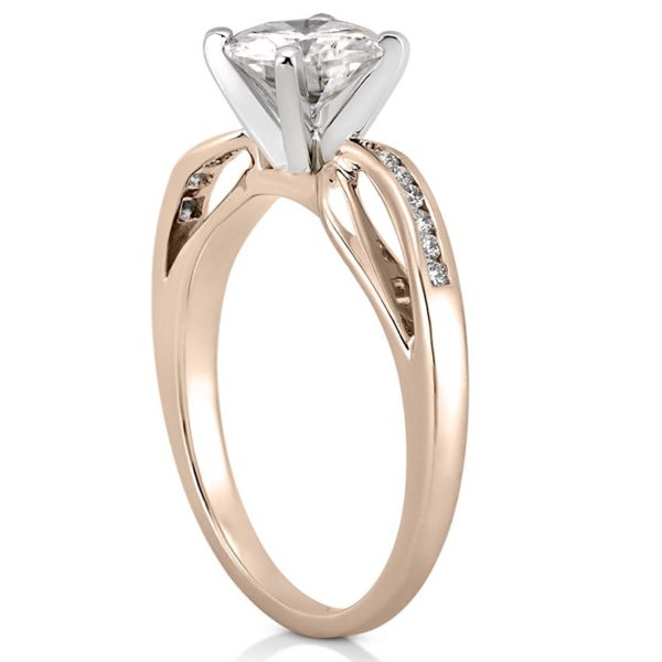 rose gold engagement ring with ribbon design