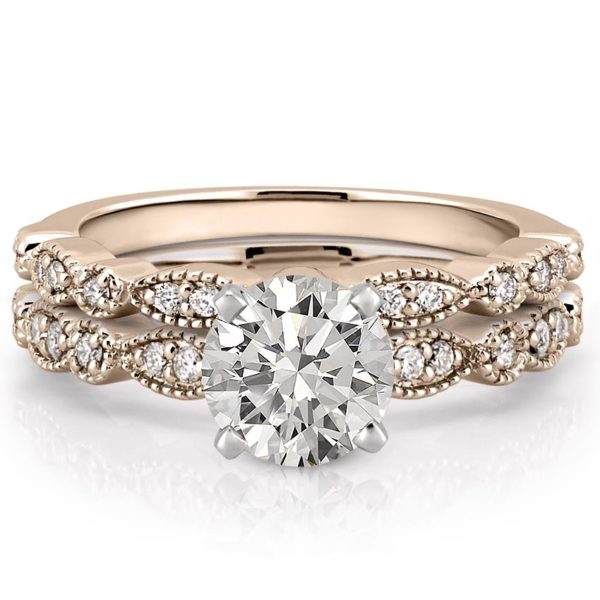 rose gold marquise and dot pandora ring set with round moissanite