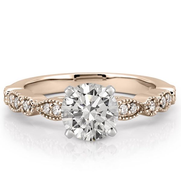 rose gold marquise and dot pandora ring with round lab diamond