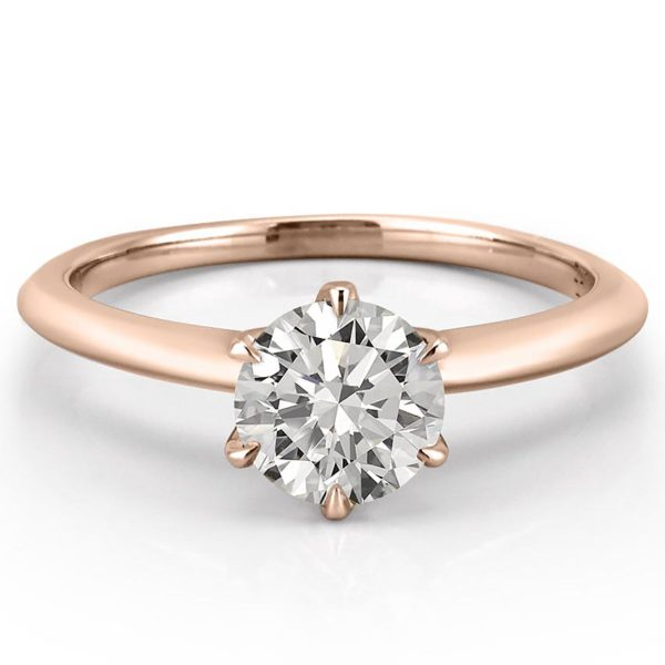 affordable six prong solitaire with claw prongs in rose gold