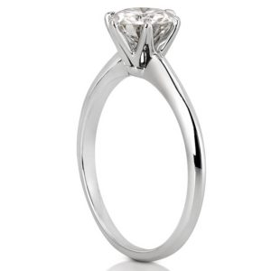 white gold solitaire with six prongs and one carat round lab diamond