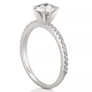 affordable dainty pave engagement ring with round moissanite in white gold