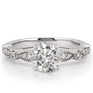 white gold marquise and dot pandora ring with round moissanite