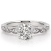 white gold marquise and dot pandora ring with round lab diamond