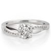 ribbon engagement ring with hearts and arrows moissanite in white gold