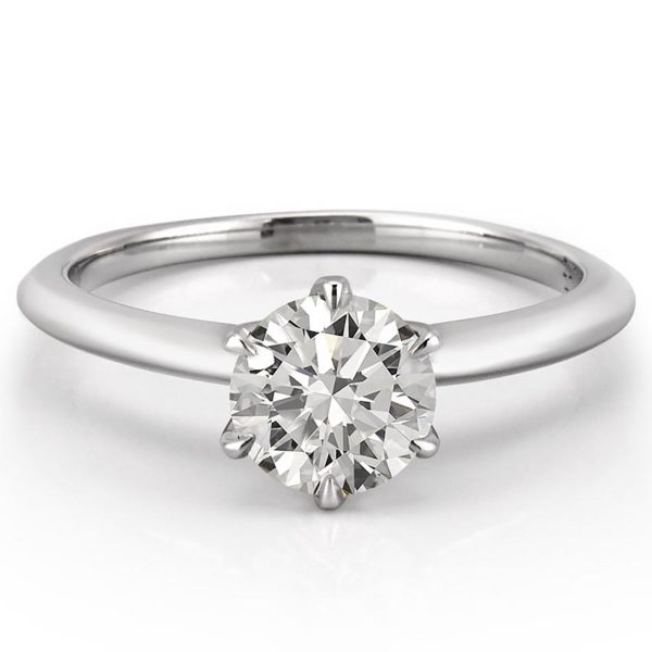 affordable lab diamond six prong solitaire with claw prongs in white gold