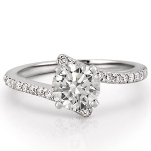 white gold pave engagement ring with round hearts and arrows moissanite