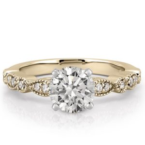 yellow gold marquise and dot pandora ring with round lab diamond