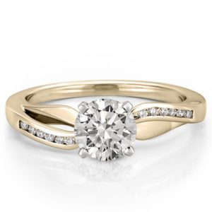 ribbon engagement ring with hearts and arrows moissanite in yellow gold