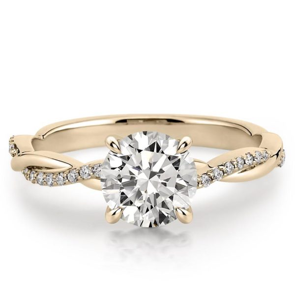 yellow gold engagement ring with twisted pave band and 1 carat round lab diamond