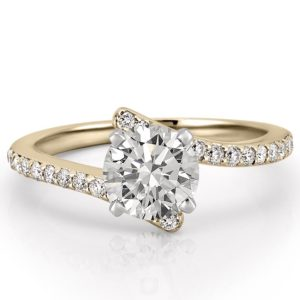 yellow gold pave engagement ring with round lab diamond