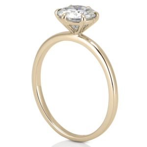yellow gold affordable delicate solitaire ring with round moissanite