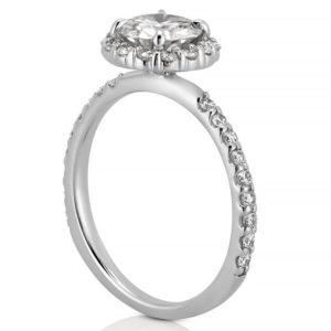 affordable moissanite engagement ring with scalloped halo in white gold