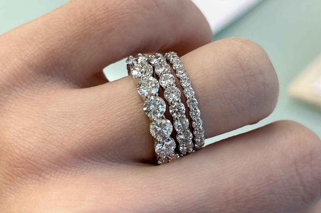 varying widths of lab diamond eternity bands