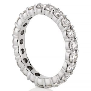 white gold 3mm lab diamond eternity band with shared prongs