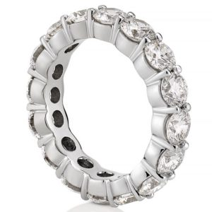white gold 4mm lab diamond eternity band with shared prongs