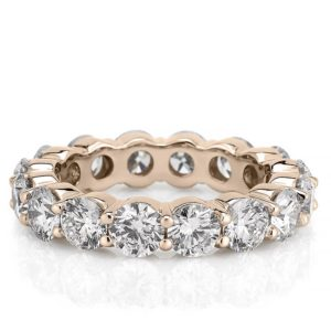 eternity band with 4mm round lab diamond in rose gold