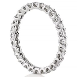white gold 2mm lab diamond eternity band with scalloped prongs