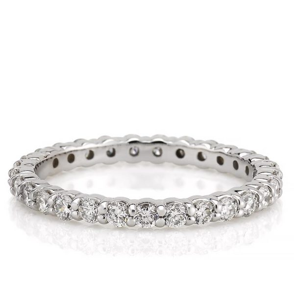 eternity band with 2mm round lab diamond in white gold