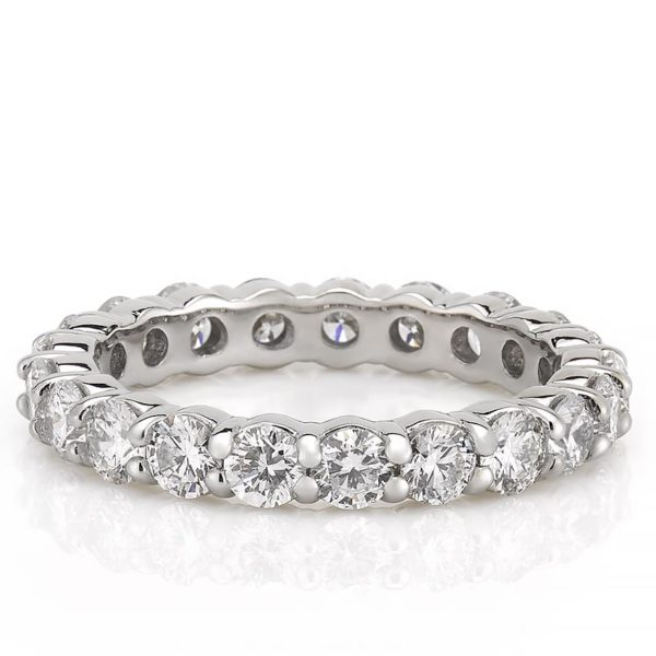 eternity band with 3mm round lab diamond in white gold