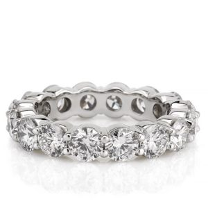 eternity band with 4mm round lab diamond in white gold