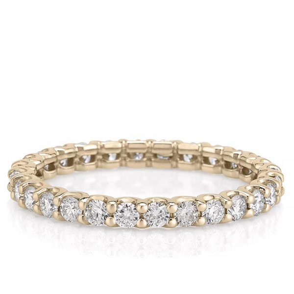 scalloped eternity band with 2mm round lab diamond in yellow gold